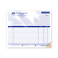 Compact Carbonless Invoice, Blue Design